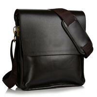 Men Small Vintage Canvas Leather Satchel School Military Shoulder Bag Messenger