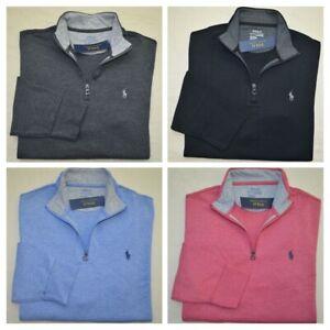 New-M-L-Polo-Ralph-Lauren-Mens-Jersey-Half-Zip-Pullover-sweater-sweatshirt-Large