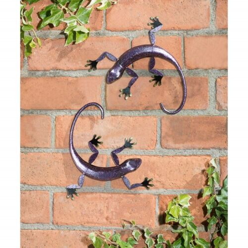 2 pk 3D Gecko Wall Art Garden Metal Wall Art Decoration