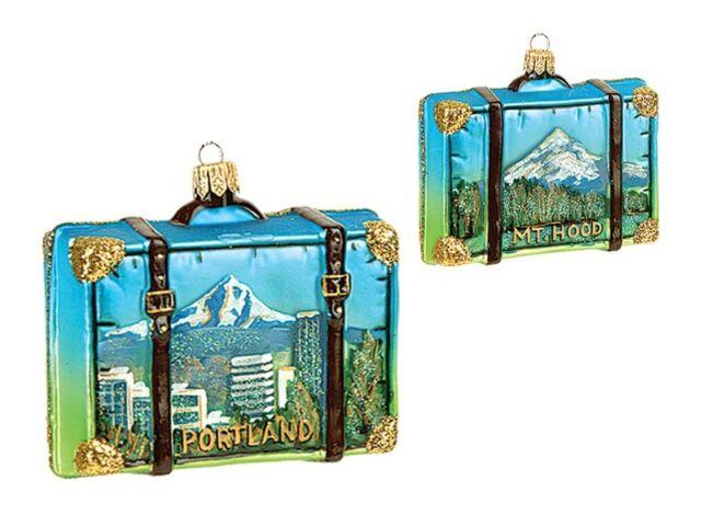Portland Oregon Travel Suitcase Glass Christmas Ornament MT Hood Decoration    eBay - Portland Oregon Travel Suitcase Glass Christmas Ornament MT Hood