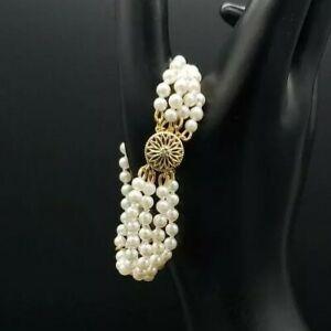 Vintage-Estate-Genuine-Akoya-Pearl-Bracelet-4-Strand-14k-Gf-Round-High-Luster