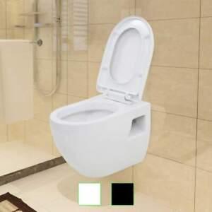 Détails sur vidaXL Toilette Suspendue au Mur Réservoir Caché Céramique  Cuvette Noir/Blanc