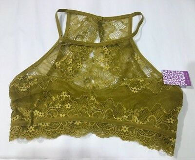 NWT Anemone High Neck Lace Bralette Bra FN1216 Keyhole Front Open Back M//L Olive