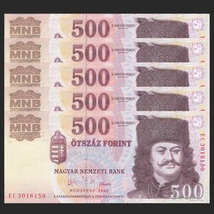 Hungria Hungary 500 Forint COMM P-194 Lot 5 PCS UNC 2006