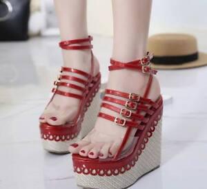 Womens-Roman-Sandals-Casual-Shoes-Platform-Open-Toe-Wedge-High-Heels-Buckle-New