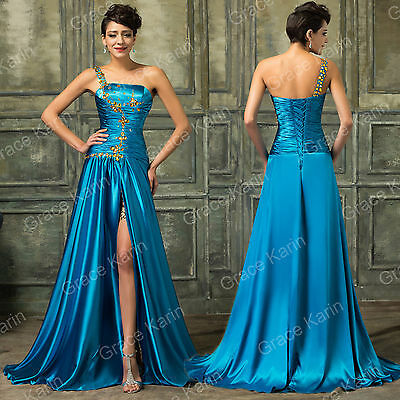 2015 SPLIT FRONT Prom Bridesmaid Party Long Dresses Formal Evening Wedding Gowns