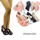 Wedge Heel Platform Open Toe Criss Cross Strappy Sandal Shoes Size 5 - 10
