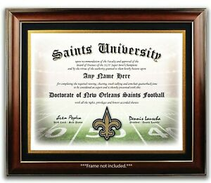 NEW-ORLEANS-SAINTS-NFL-Football-Fan-Certificate-Diploma-Man-Cave-GIFT-Xmas