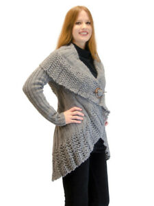 Sweater-Knitted-Crochet-Cardigan-Shrug-Medium-Large