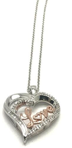 """Silver 925 14k Rose Gold Tone Diamond Love Script Word Curved Heart Necklace 18/"""""""