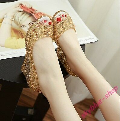 Womens New Peep Toe Jelly Shoes Glitter Sequins Hollow Out Wedge Heels Sandals