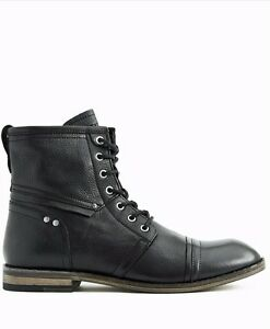 $140 Guess Lace Up Boots In Black Leather High Top Design Rounded Toe Size 11