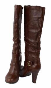 Guess-Farnellis-Women-039-s-Medium-Brown-Leather-Knee-High-Heel-Fashion-Boots-Sz-10
