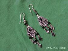 Moroccan Berber African Jewelry: Hamza Earrings Black Three 'Grapes' Drops