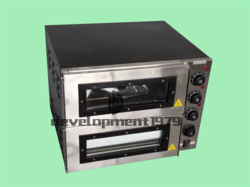 """New 16/"""" 3000W 110V Double deck Electric Pizza Oven Commercial Ceramic Stone"""