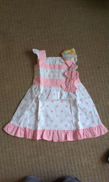 Powell Craft Dress BNWT 1-2 ans Blanc, Rose, traditionnelle, 100% coton