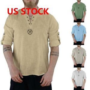 Mens-Linen-Short-Sleeve-T-shirt-Summer-Shirts-Casual-Loose-Dress-Soft-Tops-Tee