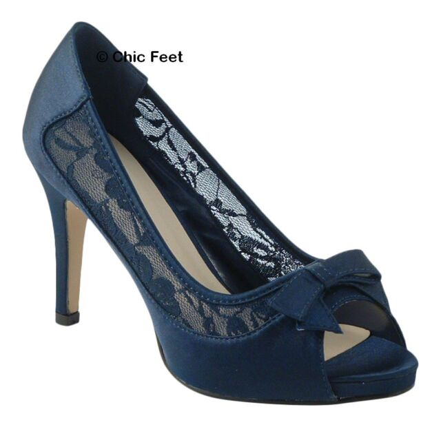 Womens Navy Blue Lace Bow Wedding Bridal High Heel Court Satin Shoes Uk 3 8