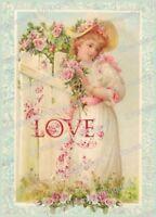 Vintage Image Valentine Victorian Girl Love Postcard Waterslide Decals Val014