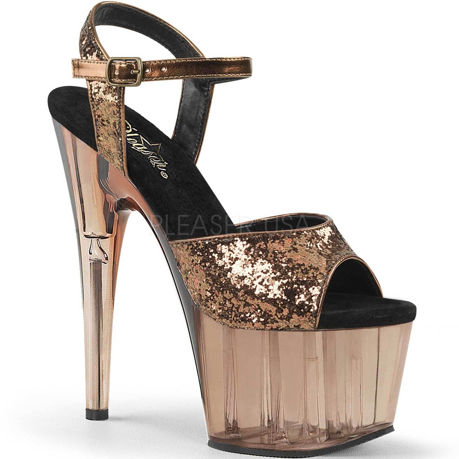 PLEASER ADORE-710GT Bronze Tinted Platform Ankle Strap Sandal Glitter Upper