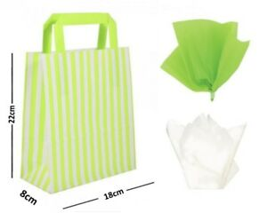 Verde-De-Rayas-Plano-Manija-Bolsas-Fiesta-Cumpleanos-papel-para-regalo-y