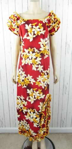 Vintage Royal Creations Hawaiian Red Floral Cotton