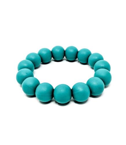 Dark Turquoise Silicone Chew Biting Bracelet Baby Teething Teether Bangle Chewy
