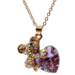 Collana-ciondolo-pendente-Koala-catena-catenina-strass-cuore-rosa-regalo-donna