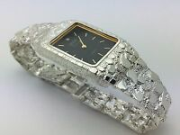 """Men's Geneve Sterling Silver Nugget Style 8"""" Wrist Rectangle Watch with Diamond"""