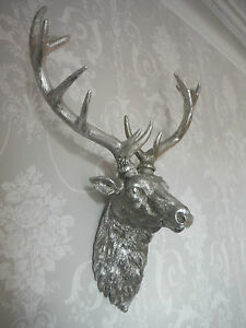 Image Is Loading Large Silver Stag Head Deer Wall Mounted