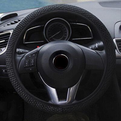 Microfiber Leather 15/'/'//38cm Car Steering Wheel Cover Breathable Anti-slip Black