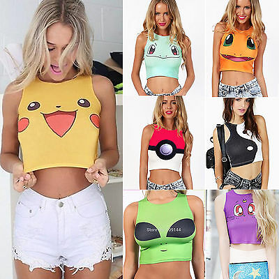 Anime Pokemon Pikachu Squirtle Sexy Vest Costume PokeBall Tank Crop Tops T Shirt