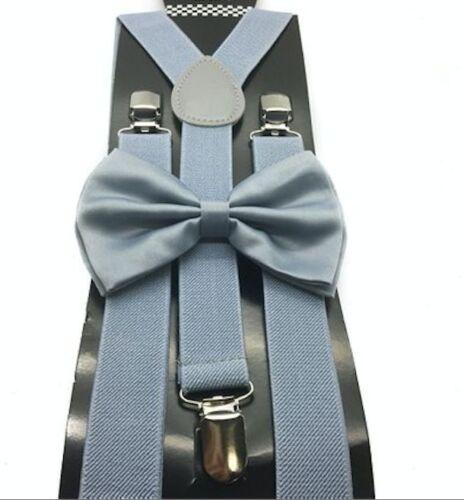 Light Grey Bow Tie /& Matching Suspenders Set Wedding Prom Teens Adult