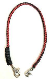 Handmade-Biker-chain-red-black-braided-leather-Trucker-wallets-made-in-USA