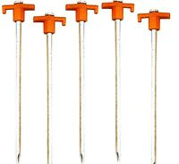 5 Pack 10 Inch Long Steel Tent Stakes Pegs Hard Ground Nail Style Orange Cmp0425