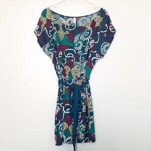 Maeve-Anthropologie-Womens-Dress-Blue-Polka-Dot-Paisley-Tie-Waist-Cap-Sleeve-L