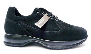 FRAU-24B3-BLU-SUEDE-scarpe-uomo-pelle-camoscio-sneakers-interactive-casual