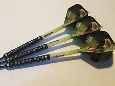 24g Black T-Rex 90% Tungsten Darts Set, Unicorn Gripper Stems, T-Rex Flights