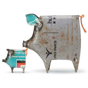 Cute Pigs made from Recycled Metal Drums - Set of 2- Foreside 77401