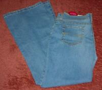 Glo Flame Blue Stretch Denim Jeans Hip Hugger Flare Legs -size 5 And 11- $30-nwt