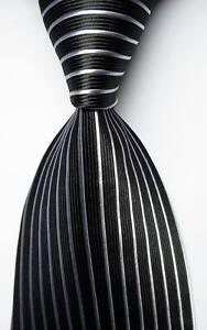 New-Classic-Striped-Black-White-JACQUARD-WOVEN-100-Silk-Men-039-s-Tie-Necktie