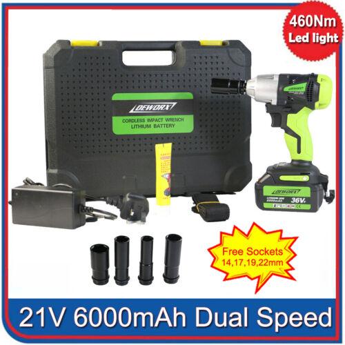 "21V Elektro Akku Schlagschrauber Set 1//2/"" 460Nm 6,0Ah Akku Ladegerät 4 Nüsse"