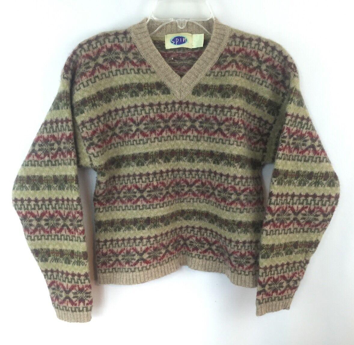 SPIN Vintage Shetland Wool Snowflake Sweater Sz M Medium Green Cranberry