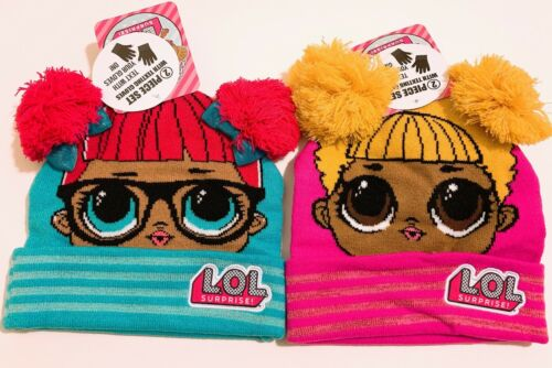 LOL Surprise Girls Winter 2pc Set Knitted Pom Beanie Hat and Texting Glove NEW
