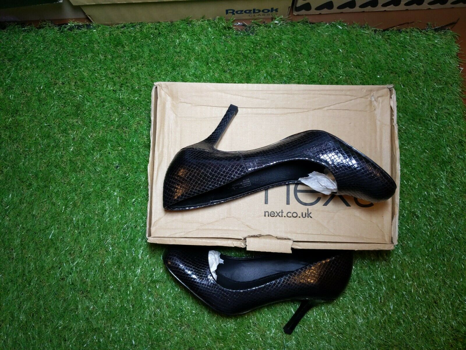 New Next size UK 6. EU. 39. black snake-skin effect high heels With Box & Tags.