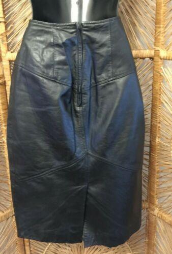 Pelle Cuir Vintage Black Leather Skirt 6 womens ladies vtg workwear career clothing genuine knee length midi trendy winter fashion basic euc