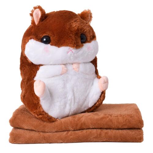 2in1 Baby Kinder Plüschtier Hamster 40cm mit Fleecedecke Kuscheltier6 Farben