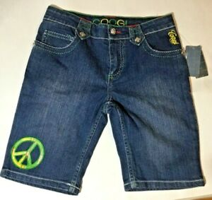 Girl-s-Coogi-Size-12-Denim-Jean-Bermuda-Shorts-Embroidered-Peace-Sign