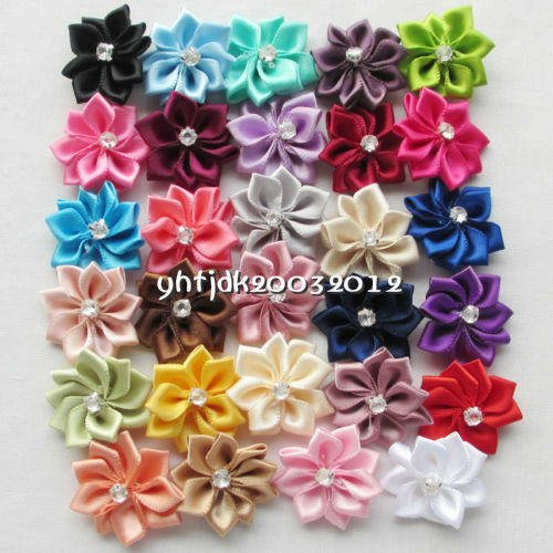 50pcs Upick satin ribbon flowers bows with Appliques Craft DIY Wedding Decor