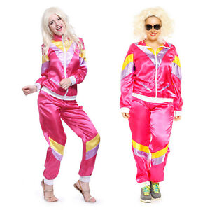 80s Adult Womens Ladies Scouser Tracksuit Shell Suit Fancy Dress